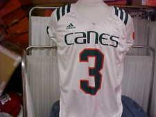 University of Miami Hurricanes Adidas White Game Worn Practice Jersey #3 Large