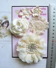 CREAM & OLD LACE Fabric Organza Satin 5 Flower Pk with some Centres 30-85mm B