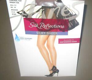 HANES~Size AB~Quicksilver Silk Reflections Control Top Sheer Toe Pantyhose~717