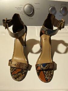 Rouge Helium Faux Snake Skin Block Heel Shoes Size 10