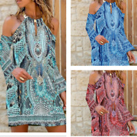Bohemian Womens Cold Shoulder Sleeve Printed Short Dress Beach Loose Baggy Dress