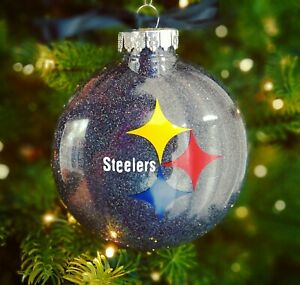 Pittsburgh Steelers Black Glitter Christmas Ornament - Handmade - Black & Gold
