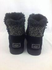 UGG MINI BAILEY BUTTON FANCY WOMEN'S SHEEPSKIN SWAROVSKI BOOTS BLACK 7 US/38 EUR