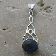 Canadian, Blue, Shining LABRADORITE Celtic Pendant, 925 STERLING SILVER #0072