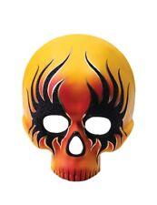 Orange Flame Skull Half Mask Halloween Masquerade Costume Accessory Biker Adult