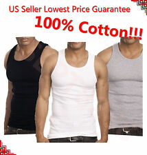 3-12 Packs Mens 100% Cotton Tank Top A-Shirt Undershirt Ribbed Black White Gray