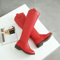 Women Fashion Knee High Boots Leather Block Heels Plus Size Casual Solid Shoes