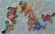 Antique Vintage French Ribbon Floral Ribbon Work