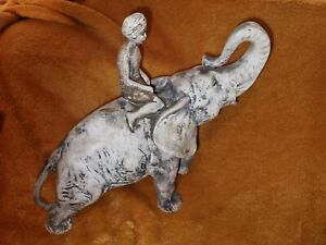 White Shabby chic style Elephant and Mahout ornament. 11.0 x 9.5 inch - AF