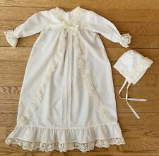 Vintage Handmade Baby Girl Victorian Dress Bonnet Ivory Lace Christening
