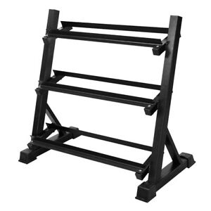 Dumbbell Rack Storage Holder Stand Gym Wide Heavy Duty 3 Tier Commercial Steel