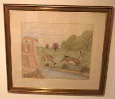 """Danger"" Lion & Deer Crayon Drawing-1962-Lawrence Lebduska"