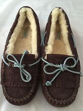 New Authentic Ugg Australia Women's Mandie Dark Brown Moc Slippers, Size 6, $120