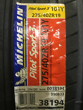 2 New 275 40 19 Michelin Pilot Sport-3 Tires