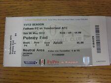 Billete De 06/05/2012: Fulham v Sunderland. este artículo se suministra con el Progs, L