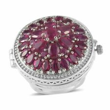 925 Sterling Silver Platinum Plated Ruby Watch Ct 11.3 Stainless Steel