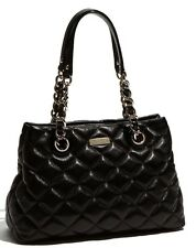 KATE SPADE AUTH $498 Women's Black Leather Gold Coast Maryanne Quilted Handbag