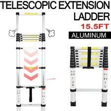 15.5Ft Aluminum Telescopic Extension Ladder Extendable Folding Multi-Use Step