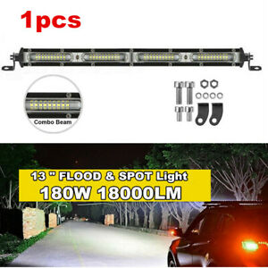 "Single Row 13""inch 180W Straight LED Light Bar Spot+Flood Combo Off Road Boat"