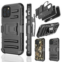 For iPhone 12 Pro Max 12 Mini Hybrid Hard Cover Shockproof Belt Clip w/Kickstand