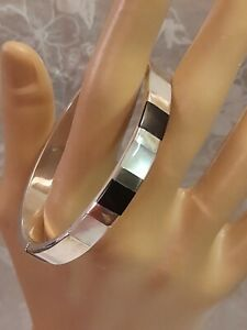 Qvc Sterling Silver Black Onyx And White Mother Of Pearl Bangle/bracelet 16.4 gr