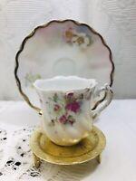 Vintage Demitasse Tea Cup and Saucer Set with Gold Trim & Floral Design