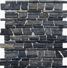 Marmor Verbundmosaik uni Neromarquina Fliesenspiegel Küche Art:40-0210 |10Matten