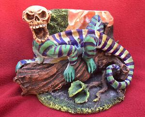 Mexican Folk Art Jose Juan Aguilar Dazzling Ceramic Skull Headed Iguana