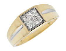 Men's 10K Two-Tone Gold Squared Top Round Diamonds Shared-Prong Pinky Ring .25ct