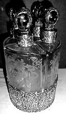 Antique solid silver and glass  Perfume decanter set