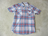 Levis Pearl Snap Button Up Shirt Adult Small Cowboy Western Blue Red Rodeo Mens
