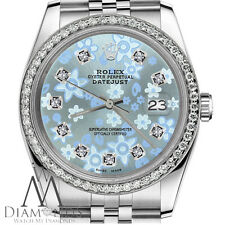 Baby Blue Rolex 36mm Datejust Floral Design Diamond Dial Jubilee SS Watch