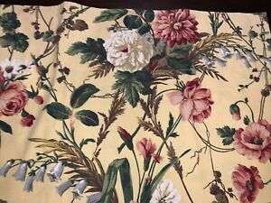 """1 Window Valance WAVERLY Vtg New Broadcloth 78"""" X 17"""" Self-Lined Rose Floral USA"""