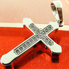 PENDANT CROSS REAL 18K WHITE G/F GOLD DIAMOND SIMULATED PAVE SET DESIGN FS3A300