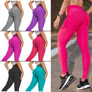 Womens Honeycomb Textured Anti-Cellulite High Waist Butt Lift Gym Sport Leggings