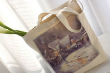 Pretty X'mas Oil Painting Design 100% Thick Canvas Cotton  Tote Shopping Bag
