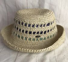 99a2db7e82c Scala Natural Fiber Straw Hat Green Blue Accent Stripe One Size