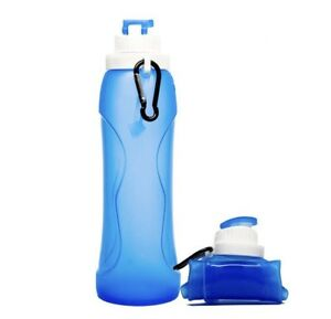 Silicone Portable Foldable Water Bottle 500ml Collapsible Drink Sports Hiking