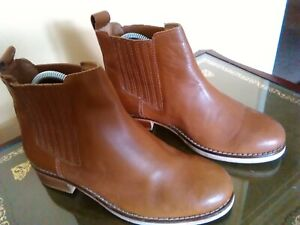 Ladies Topshop Pull On Chelsea Boot Brown Leather Size  37