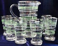 Vintage Retro Hand blown silver white & Green Striped  Pitcher Jug & 6  Glasses