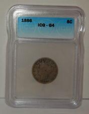 "1886 - Liberty ""V"" Nickel - ICG - G4 -                                     #695Z"