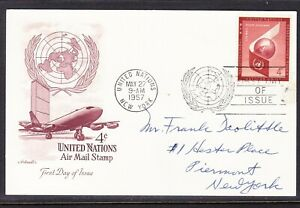 """United Nations """"Artmaster"""" 1957 - 4c Airmail Card Addressed"""