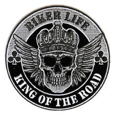 Embroidered Biker Life King of The Road Skull Iron on Sew on Biker Patch Badge