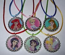 8 DISNEY PRINCESS BOTTLECAP BOTTLE CAP NECKLACE BIRTHDAY PARTY FAVORS