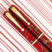 VINTAGE WATERMAN'S IDEAL 92 Ruby Red Wine Gold Marble Fountain Pen Pencil SET