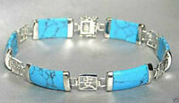 Blue Turquoise Gemstone Silver Fortune Lucky Link Bracelet