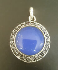 Blue Onyx, Silver plated Pendant