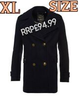 1944c656157  SALE NEW RRP£94.99 XL SIZE WOMENS SUPERDRY CLASSIC PEA COAT NAVY WINTER