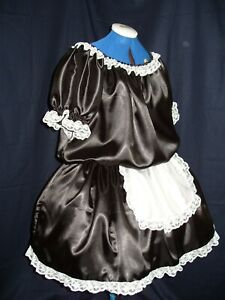 LADIES~SISSY~MAIDS~ADULT BABY~UNISEX BLACK SATIN & LACE DRESS WITH APRON