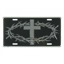 CROWN OF THORNS & CROSS License Plate Auto Tag Silver / Black Christian Jesus